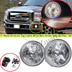 4 Round Universal Fog Lights White Halo Chrome Housing Clear Led Driving Lamps
