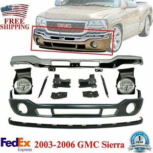 Front Bumper Chrome bracket valance extension fog Lights For 2003 2006 Gmc Siera