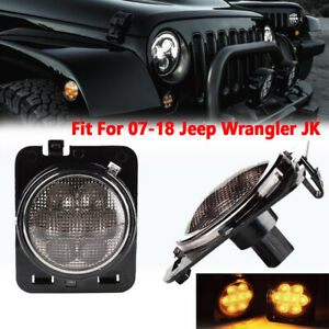 Pair Led Side Maker Fender Lights Smoke Lens Fit For Jeep Wrangler Jk 2007 2018