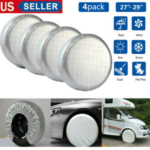 4x Waterproof Wheel Tire Covers For Rv Truck Car Auto Camper Trailer 25 To 27