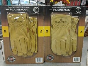 4 Pair Plainsman Premium Cabretta Leather Work Gloves Brown Medium
