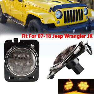Fit For 2007 2018 Jeep Wrangler Jk Led Amber Fender Side Maker Light Smoke Lens