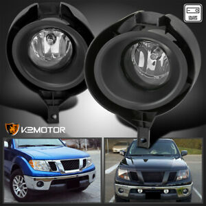 For 2005 2019 Nissan Frontier Clear Fog Lights Bumper Driving Lamps Switch Bezel