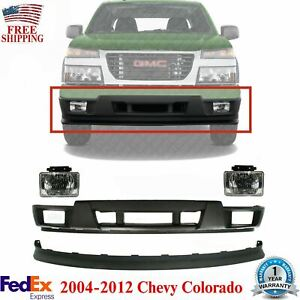 Front Bumper Lower Valance Kit W Fog For 2004 12 Gmc Canyon Chevy Colorado