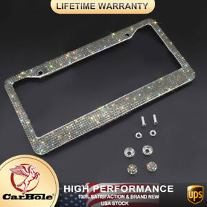 2pack Bling Metal License Plate Frame Tag Sparkling Glitter Crystal Diamond Usa
