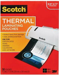Scotch Thermal Laminating Pouches 8 9x11 4inches 3 Mil Thick 100 Pack