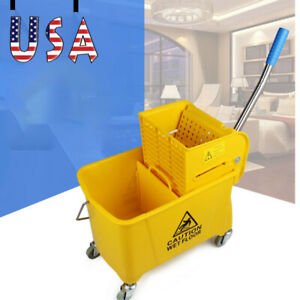 20l Commercial Mop Bucket Side Press Wringer On Wheels Cleaning Yellow Us New