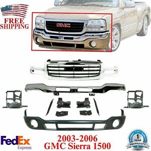 Front Bumper Chrome With Brackets Valance Grille For 03 06 Gmc Sierra 1500