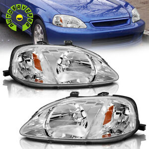 For 1999 2000 Honda Civic Dx Ex Ex R Si Headlights Headlamps Black Left Right