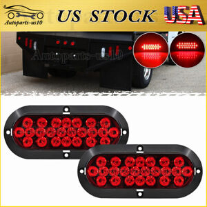 2x Stop Brake Turn Trailer Tail Lights 6 Inch Oval Red 24 Led For Rv Truck Jeep