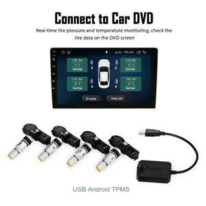 Usb Android Display Tpms Tire Pressure Monitor System Receiver 4 Internal Sensor