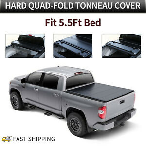 Hard Quad fold Tonneau Cover For 2004 2014 Ford F 150 5 5 Ft Truck Bed Frp