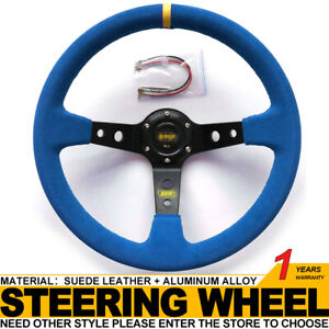 350mm 6 Bolt Sport Racing Steering Wheel Suede Leather Horn Button Blue black