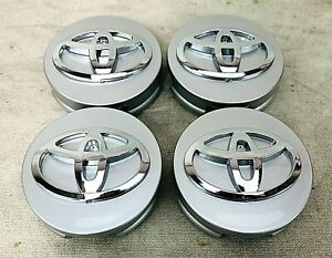 Set Of 4 Fits Toyota Wheel Center Hub Cap Silver Base Chrome Logo 62mm 2 1 2
