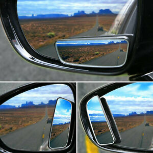 2pcs Car Stick On Hd Glass Rear View Blind Spot Convex Wide Angle Mirrors