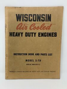 Wisconsin Air Cooled Heavy Duty Engine S 7d Parts List Instruction Book Euc
