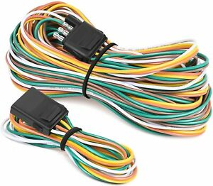 4 Pin Flat Trailer Extension Wiring Harness Kit 18awg Wishbone style For Lights