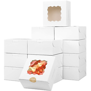 Moretoes 30pcs White Bakery Box With Window 6x6x3in For Small Pie Cookies And