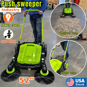 Top grade Triple Brush Push Power Sweeper For Ground Cleaning Push Type Newest