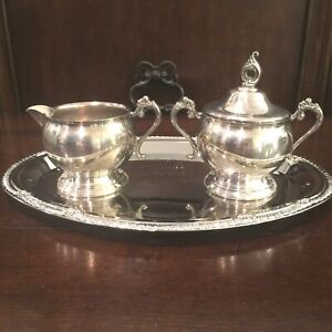Vintage Pilgrim Silver Set Of Sugar Bowl With Lid Cream Dispenser And Tray