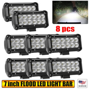 8x 7 Inch Led Work Light Bar Flood Combo Pods Fog Driving Off road Tractor 4wd