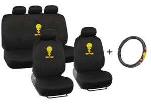 Tweety Bird Front rear Seat Cover Steering Wheel Cover Combo Gift Set Pack