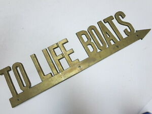 Authentic Vintage Antique Brass Metal Penco To Life Boats Original Sign Old
