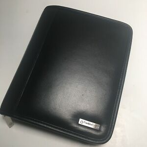 Franklin Covey Black Leather Compact Planner Zipper Organizer