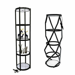 81 5 Layer Black Round Aluminum Spiral Twister Tower Display Case W Top Light