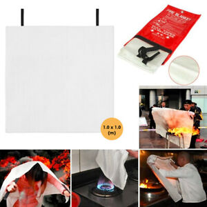Quick Release Home Office Safety Large Fire Blanket In Case 1mx1mx0 3mm Y5j2