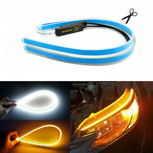Led Drl Light Amber Sequential Flexible Turn Signal Strip For Headlight 2 X 45cm