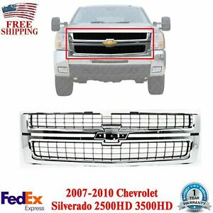 Front Grille Chrome Shell Primed Insert For 2007 2010 Silverado 2500hd 3500hd
