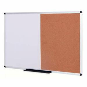 Viz pro Magnetic Dry Erase Board And Cork Notice Board Combination 36 X 24 Inch
