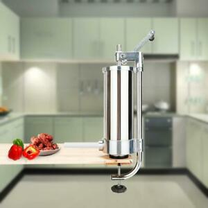 3l Manual Sausage Stuffer Meat Filler Machine Commercial Stainless Steel 4 Tube