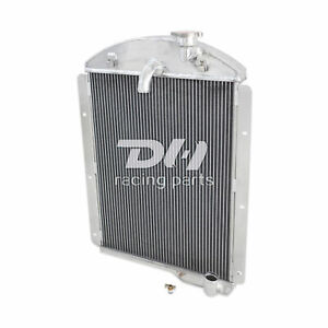 For 1941 1946 Chevy Truck Pickup L6 Chrome Aluminum 3 Row Cooling Radiator