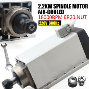2200w Square Cnc Spindle Air cooled Motor Er20 220v 18000rpm 304 Stainless Steel