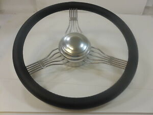 15 Ss Steering Wheel With Leather Wrap Banjo Style Polished