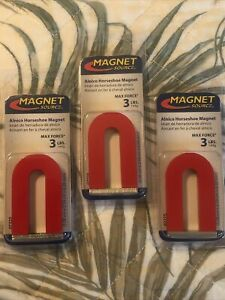 3 Red Cast Alnico 5 U shaped Magnet With Keeper 1 3 16 Wide 2 Tall 1 4