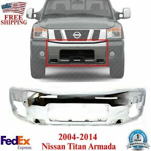 Front Bumper Face Bar Chrome Steel For 2004 2014 Nissan Titan Armada