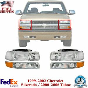 Head Lamps Park Lamps Lh Rh For 1999 2002 Chevy Silverado 2000 2006 Tahoe