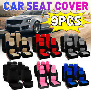 9pcs Universal Car Seat Covers Front Rear Headrests Seat Covers Set For Suv T