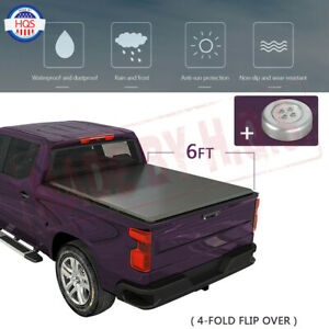 6ft Bed Solid Hard 4 Fold Tonneau Cover For 2005 2015 Toyota Tacoma Pickup 72