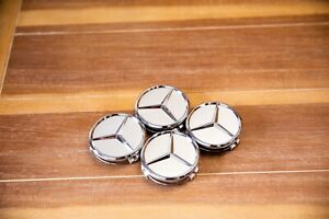 New Set Of 4 Center Wheel Hub Caps For Mercedes Benz Matte Silver 75mm 3 In