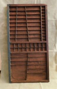 Vtg Printer s Tray Letterpress Drawer Type Set Wood Cabinet Display Shadow Box