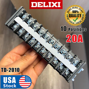 Delixi Usa Strip10 Position 660v 20a Dual Row Screw Wire Barrier Terminal Panel