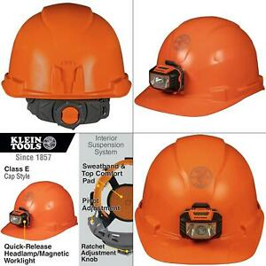 Hard Hat Non vented Orange Cap Style With Headlamp