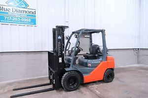 2017 Toyota 8fgu25 5 000 Pneumatic Tire Forklift Lp Gas 3 Stage 4 Way Hyd
