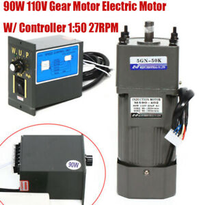 90w Gear Motor Electric Variable Speed Controller Torque Large 1 50 110v 0 27rpm