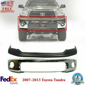 Front Bumper Chrome Steel Upper Cover Primed For 2007 2013 Toyota Tundra