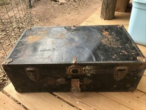 Vintage Metal Travel Black Trunk